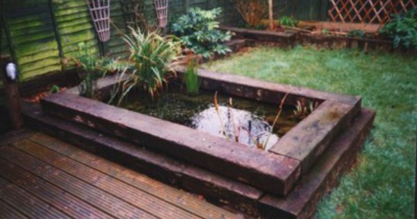 Railway sleeper pond railway sleeper ideas pinterest for Garden pond design using sleepers