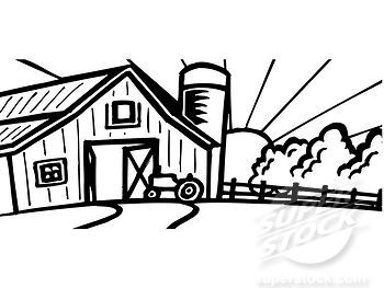 A Black And White Illustration Of A Barn At Sunrise Stock Photo 1538r 61091 Superstock Black And White Illustration Black And White Cartoon Clipart Black And White