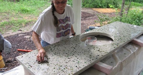Crushed glass countertop our future home pinterest for Crushed glass countertops