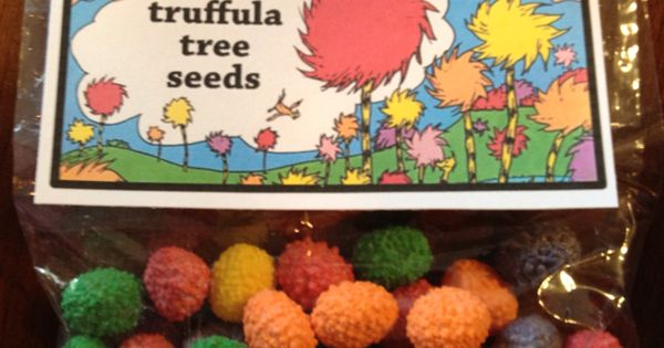 Truffula tree seeds (nerds jelly beans) - give these to students then