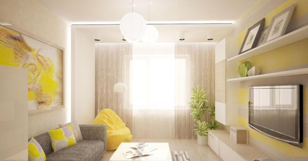 modernes wohnzimmer in gelb und grau gem tlich gestaltet wg leben pinterest steinfliesen. Black Bedroom Furniture Sets. Home Design Ideas