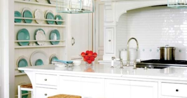 Seven Inspiring White Kitchens - plate rack, light fixture