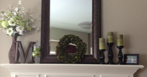 Mantle decor by me mirror kirklands candles wreath