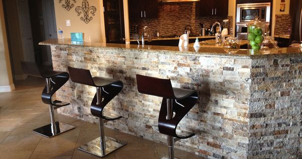 Arizona Tile 3d Stacked Stone Under Bar Kitchen