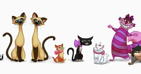9 Disney Cats, from left to right: Oliver from Oliver and Company