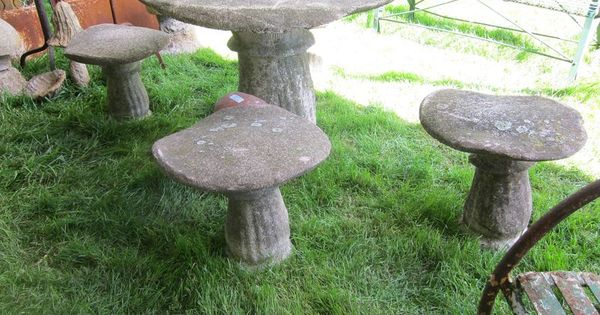 Mushroom table and chairs concrete gardens gardening and plants pinterest concrete