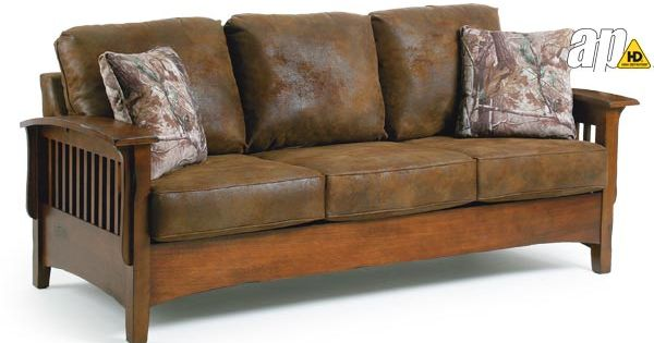 Westney Mission Style Sofa Leather Looking Microfiber