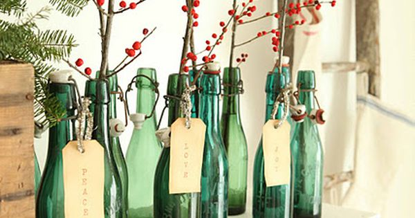Love the berry branches - I like this simple look for Christmas
