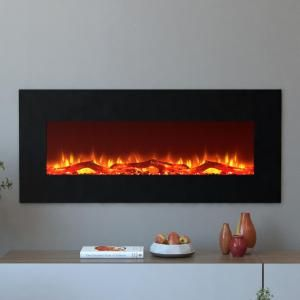 Moda Flame Houston 50 In Electric Wall Mounted Fireplace In Black Mfe5050bk The Home Depot Wall Mount Electric Fireplace Wall Mounted Fireplace Fireplace