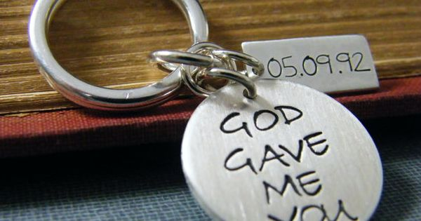 God Gave Me You Key Chain Mens Anniversary Gift Wedding