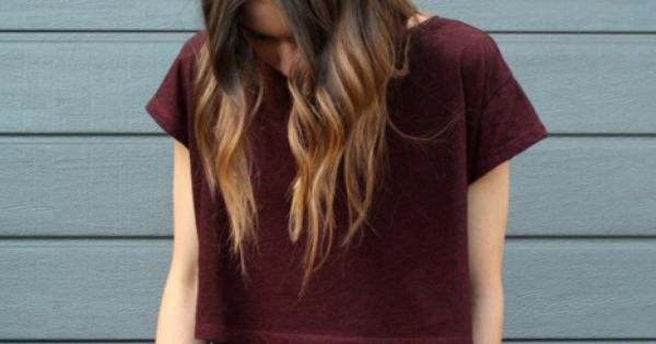 Maroon + leather shorts + balayage hair