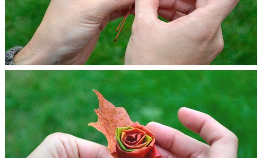 DIY Fall leaf flower bouquet, wouldn't that be neat for a fall