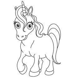 Outlined Cute Unicorn Vector Malvorlage Einhorn Niedliches Einhorn Malvorlagen