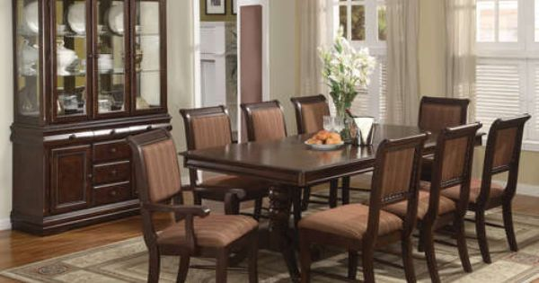 Details About Merlot 9 Piece Formal Dining Room Furniture Set Pedestal Table 8 Chairs Room
