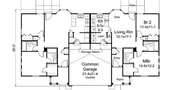 Colonial Ranch Multi Family Plan 95881 Duplex Plans