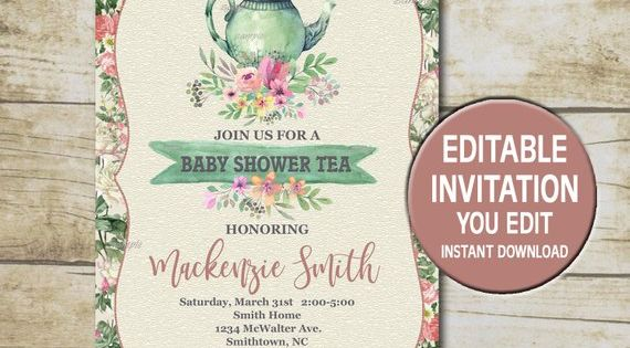 Baby Shower Tea Party Invitation Template Editable You Edit Floral Baby Shower Tea Party Shabby Tea Party Invitations Baby Shower Tea Party Invite Template