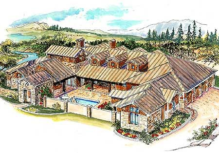 Plan W16375md Hill Country Ranch Corner Lot House Plans Home Designs Hill Country Homes Courtyard House Courtyard House Plans