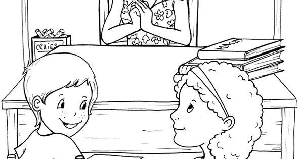Coloriage d une maitresse et ses deux l ves contes et histoires pour enfants pinterest school - Coloriage de maitresse ...
