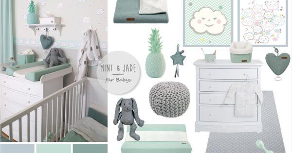 babyzimmer mit wolken in grau mint jade kids pinterest babyzimmer mint und wolke. Black Bedroom Furniture Sets. Home Design Ideas
