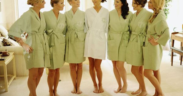 BRIDESMAIDS GIFTS: MONOGRAMED ROBES..Such a great idea because it's the perfect way