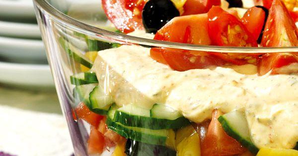 griechischer schichtsalat rezept schichtsalat tolle rezepte und hackfleisch. Black Bedroom Furniture Sets. Home Design Ideas