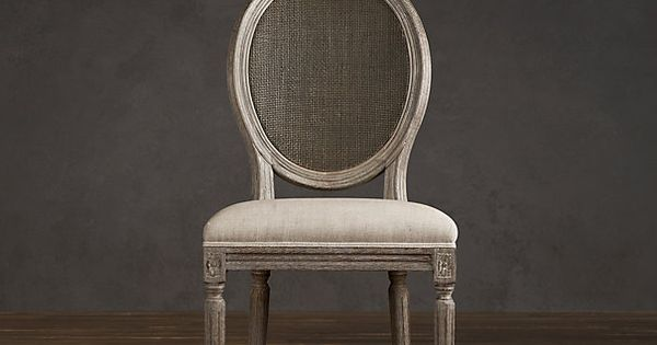 Vintage French Cane Back Round Upholstered Side Chair Upholstered Chairs Restoration