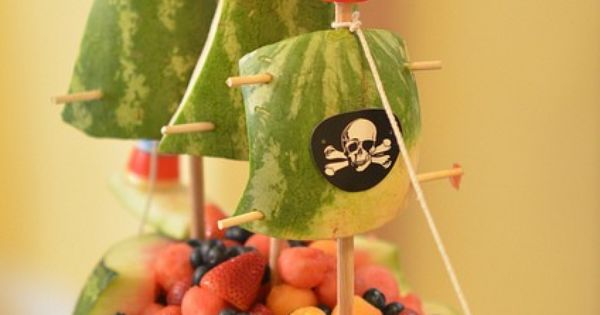 watermelon fruit bowl, flynns ship, pirate ship, skylanders party, boys birthday party,