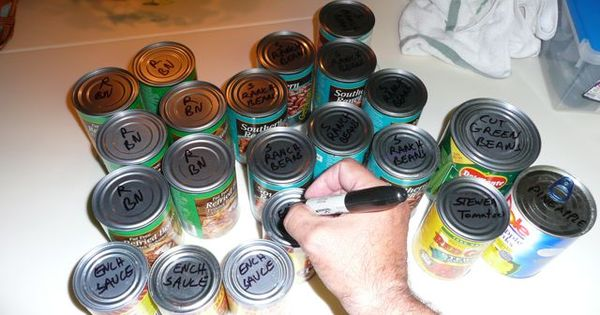 If storing canned goods under seating, etc, label tops with permanent marker.