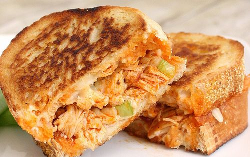 "Buffalo chicken grilled cheese sandwich. Another pinner says ""I'm not going to"