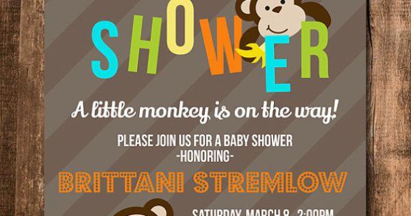 Bab Shower Invitation Monkey Baby Shower Invite Monkey Invite Digital Printable Party