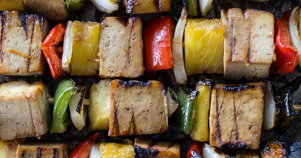 Grilled pineapple Teriyaki Tofu Skewers with Aromatic ...
