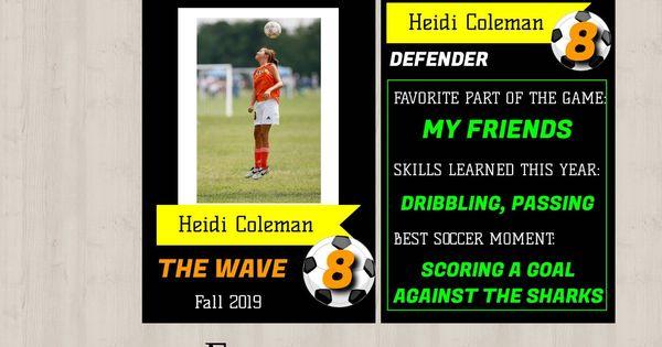 Editable Soccer Player Card Template 2 Sided Exchange Card Etsy Player Card Soccer Players Soccer Cards
