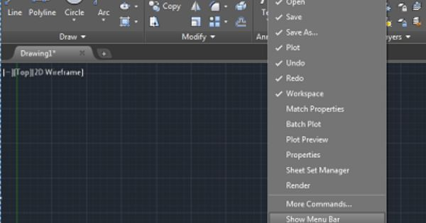 Restore The Classic Workspace In Autocad 2016 And 2017 With