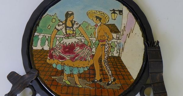Vintage Early California Mexican Dancers Lamosa Tile Iron