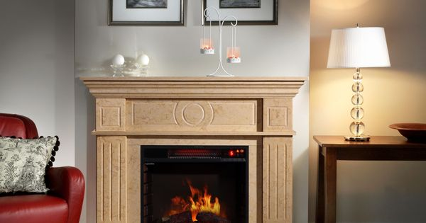corvus electric flame travertine mantel fireplace with