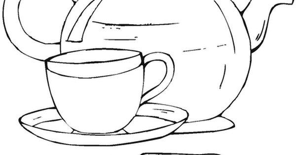 Dibujos Para Colorear Las Galletas: Dibujo De Tetera Y Taza Con Galletas Para Colorear