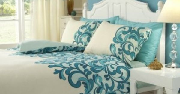 Hachette 3pc Saville Cream Teal King Size Bedding Bed