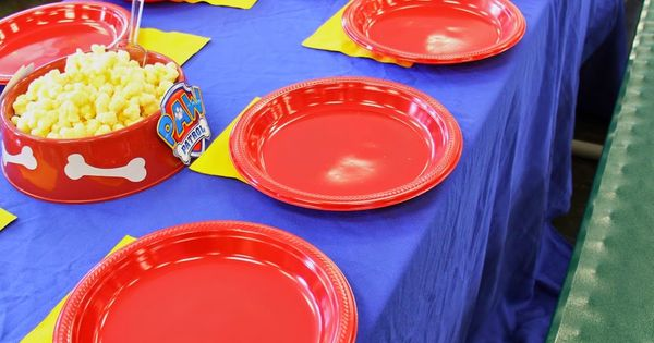 Paw Patrol party Paw-ty decorations dog bowl centerpieces with snacks