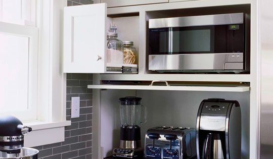Kitchen Storage Idea Flip Down Door Hides Blender