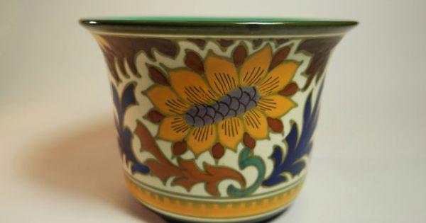 Royal Dutch Gouda Pottery Cache Pot Flower Pot Pattern