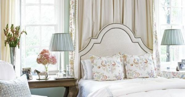 Wall color, headboard, lamps, and bedside tables. Great idea for master bedroom.