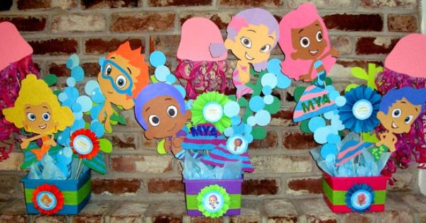 Bubble guppies centerpieces party decorations by creationsfromus2 woott girls pinterest - Bubble guppies center pieces ...