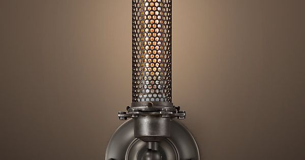 Rh S Edison Perforated Metal Sconce Fitted With A Valve And A Striker A Shade To Protect The Flame And A Cage To Prote Perforated Metal Sconces Filament Bulb