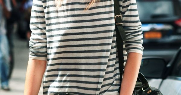 great casual outfit for boyfriend jeans, striped shirt and hat