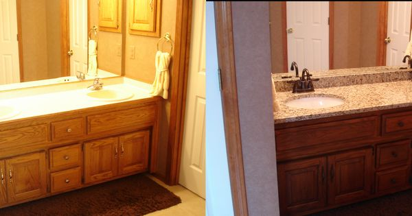 My Golden Oak Master Bath Remodel Darkened Vanity With Glaze New