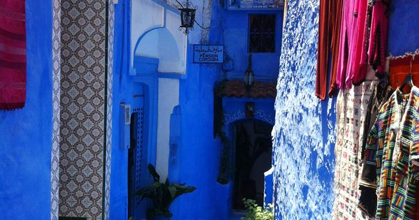 Bright blue street in Chefchaouen Morocco.