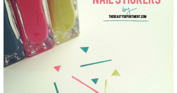 Create your own nail stickers using scotch tape, nail polish and scissors.