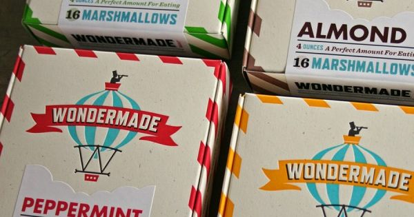 Wondermade marshmallow packaging, design by Heads of State, printed by Studio on