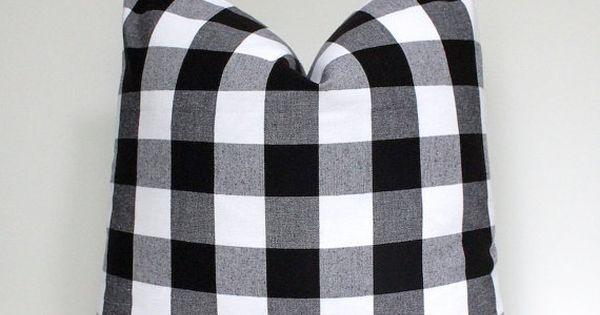 Modern Plaid Check Gingham Designer Pillow Cover 18 Black