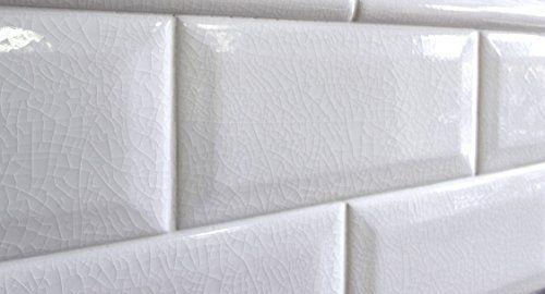 3x6 White Beveled Crackled Ceramic Tile Squarefeet Depot Http Www Amazon Com Dp B00xt0jlje Ref Cm Sw R Ceramic Tile Backsplash Tile Backsplash Ceramic Tiles